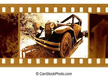 old 35mm frame photo with vintage usa ford