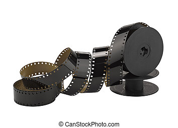 old 8mm cine film and reel; isolated on white (clippin path)