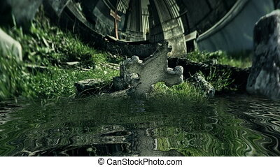Old abandon cemetery reflected in water
