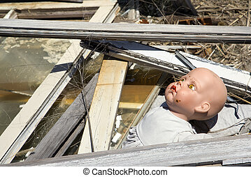 Old abandoned baby doll.