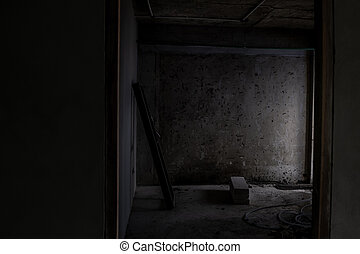 Old abandoned building interior that is being renovated.