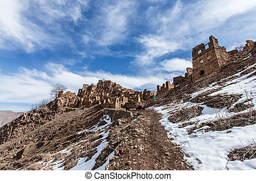 Old abandoned city of Gamsutl Republic of Dagestan, Russia. ...