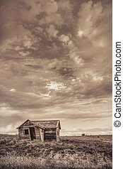 old abandoned farm house on Colorado prairie