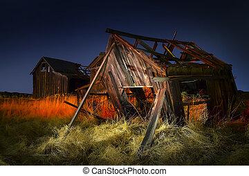 Old Abandoned fishing shacks at night, light painted. The Dalles, Oregon.