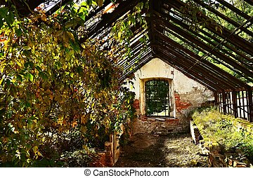 old abandoned greenhouse building in the castle garden.