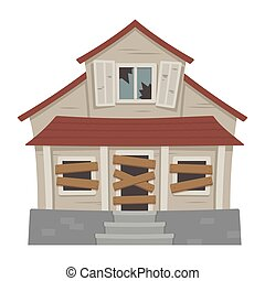 Old abandoned house cartoon vector illustration. Decaying ...