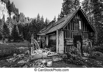 Old abandoned house shot in black and white