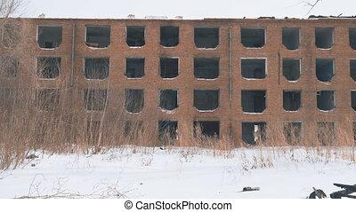 Old abandoned house without windows