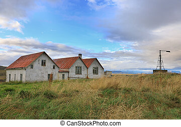 Old abandoned houses  in the countryside, Iceland