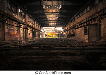 Old Abandoned industrial interior with bright light