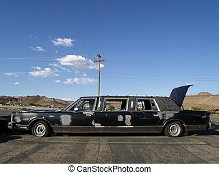 Old abandoned limousine wreck