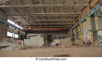 Old abandoned manufacture indoors ruins