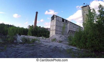 Old abandoned marbled calcareous factory in Karelia, Russia