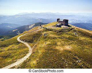 old abandoned observatory on mount Pip Ivan in Carpathian mountains, Ukraine