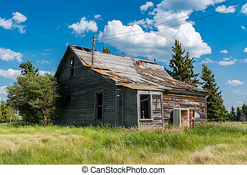Old abandoned prairie farmhouse surrounded by trees, tall grass and blue sky