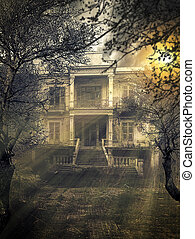 Scary Haunted house - old abandoned Scary Haunted house