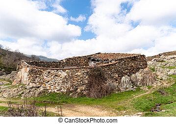 Old abandoned stone sheepfold in Puebla de la Sierra