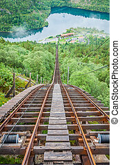 Old abandoned train on the way to Trolltunga, Norway