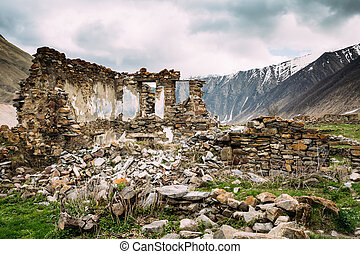 Old Abandoned Village With Dilapidated Ruined Houses In Ketrisi