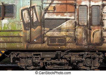 Old abandoned wagon grunge side