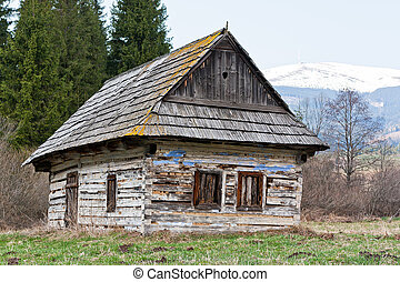 old abandoned wooden hut under Kralova hola - old abandoned...
