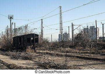 Old abandoned wooden railway wagon