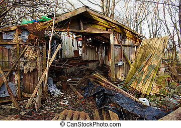 Old abandoned wooden shed