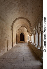 Old Abbey Galley - France, Provence. Senanque Abbey corridor...