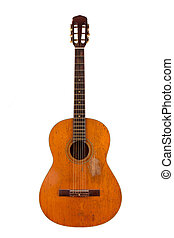 Old acoustic guitar on white background