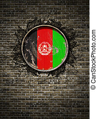 Old Afghanistan flag in brick wall