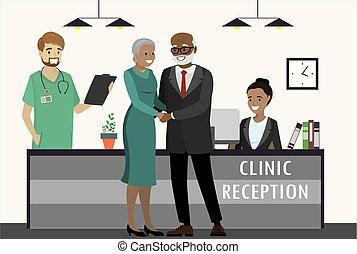 Old african american couple in clinic,
