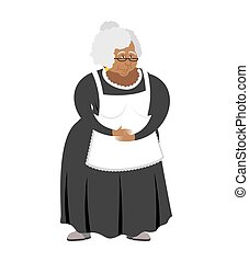 Old African-American governess isolated. pedagogue grandmother. servantretired