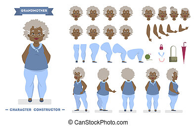 Old african american woman character set for animation