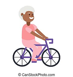 old afro woman riding bicycle avatar character