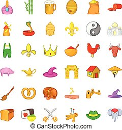 Old age icons set, cartoon style - Old age icons set....