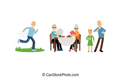 Old Age Pensioner People Characters Engaged in Daily Activity Vector Illustration Set