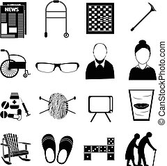 Old age retired people icons set in black.