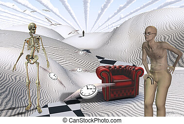 Old age - Surreal white desert with red armchair. Old man...