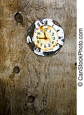 old aged clock face on wooden background