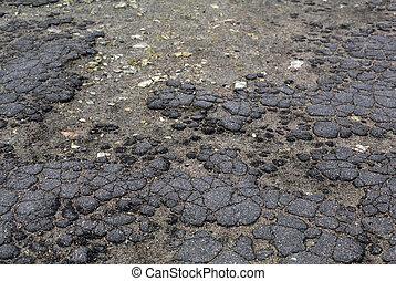 Old aged grey cracked asphalt road surface - Old aged grey...