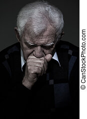 Old aged man mourns his wife - Portrait of old aged man who...