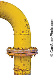 Old aged weathered grunge gas pipe connection flange joints,...