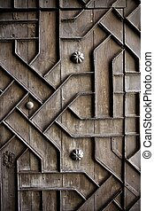 old aged wooden door iron handcraft deco - old aged wooden...