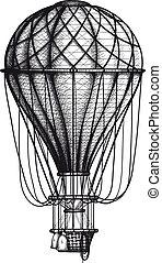 Old Air Ballon - vintage Air Balloon drawn as engraving...