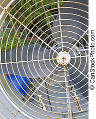 Old broken air condenser fan metal with white color.