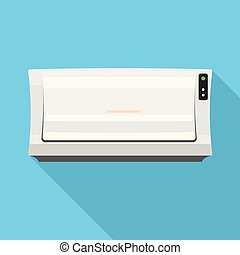 Old air conditioner icon, flat style