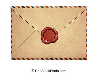 Old air letter envelope with red wax seal isolated