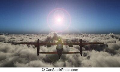 old air plane fly above clouds