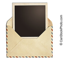 old air post envelope with polaroid photo frame isolated on...