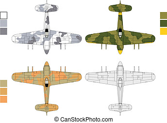 Old airplane camouflages - High detailed vector illustration...